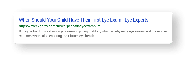 meta description examples of first eye exam search