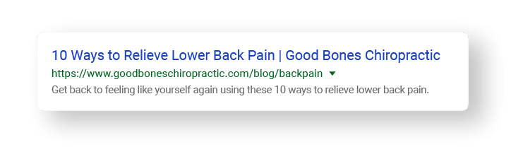 meta description examples of lower back pain search