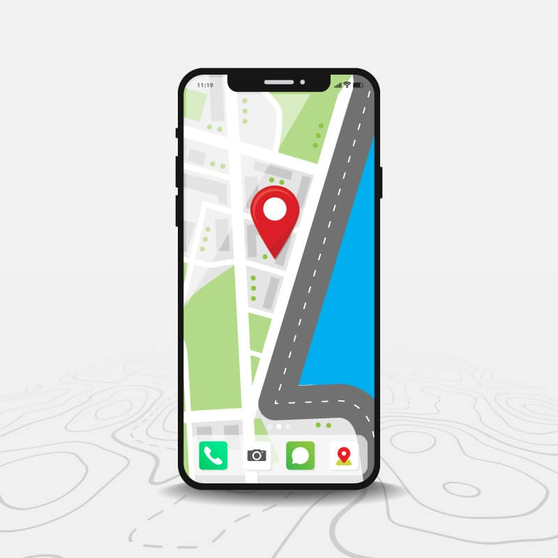 Map point on a smart phone
