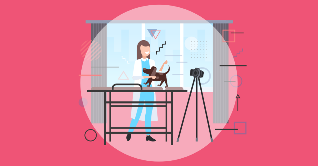 A character taking a video with a pet patient