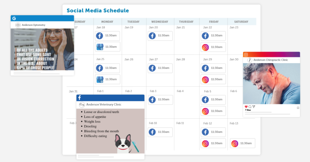 Online Booking Calendar and a variety of social media posts.