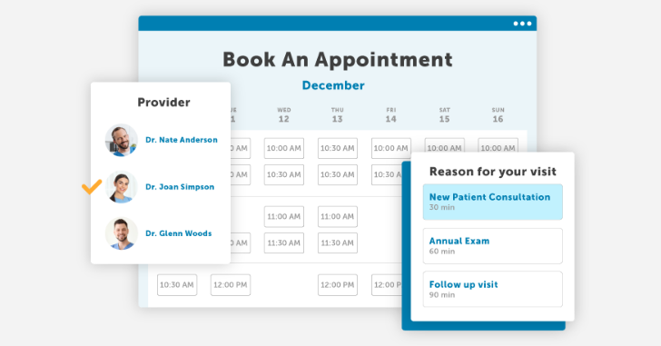 Patient view of online booking dashboard.