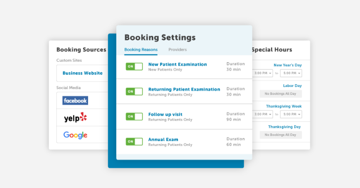 Various aspects of the online booking dashboard.