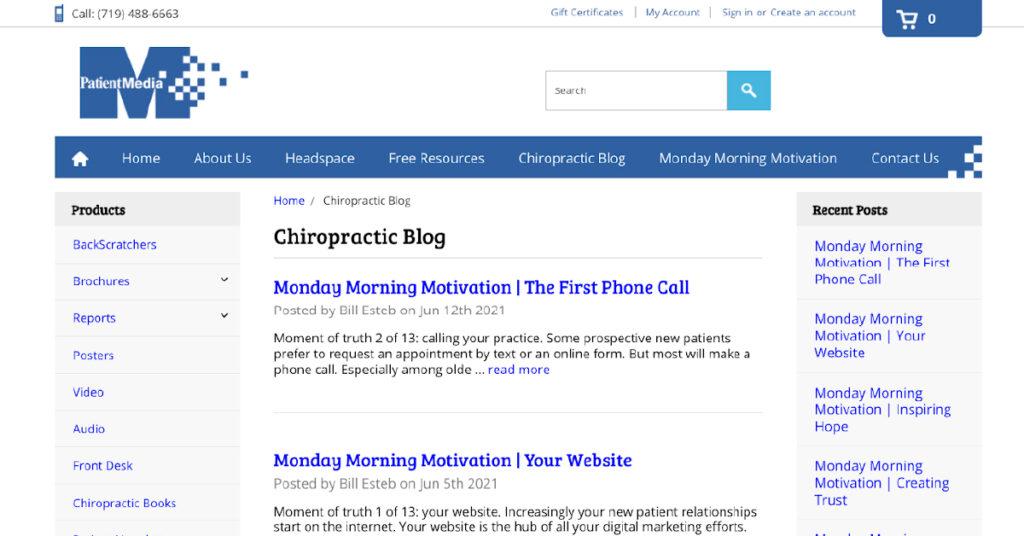 Screenshot of Patient Media blog landing page.