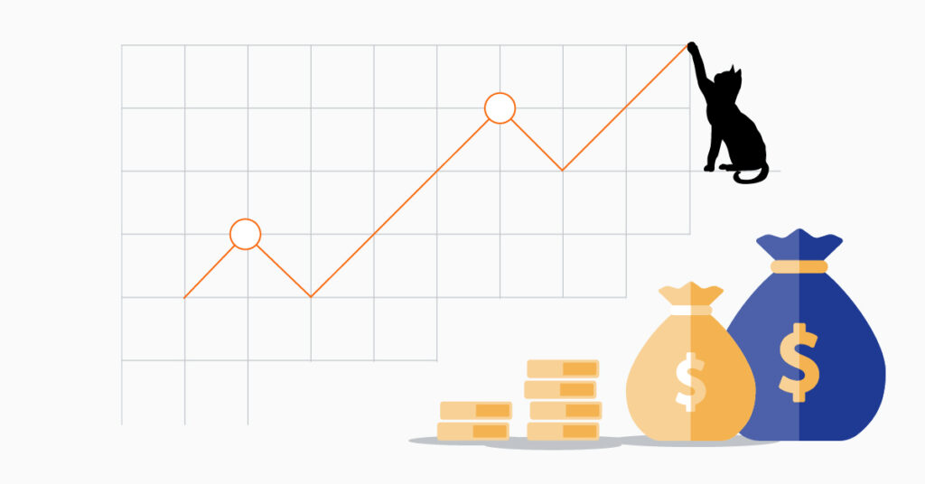 Graph of a cat showing growth in revenue.