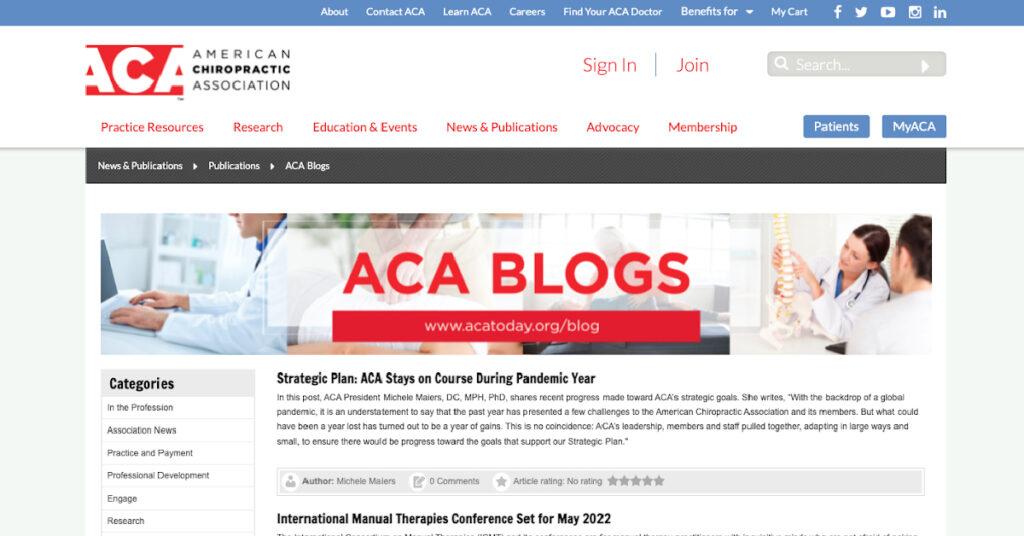 Screenshot of American Chiropractic Association blog landing page.