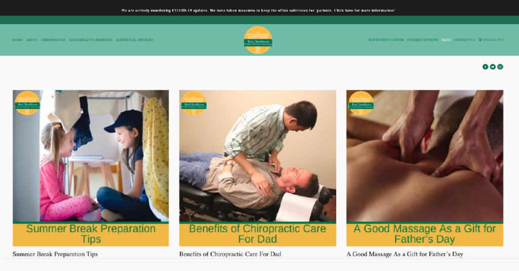 Screenshot of Markson Chiropractic s blog landing page.