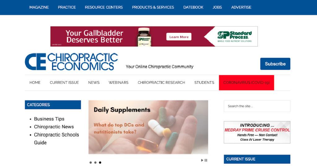 Screenshot of Chiropractic Economics blog landing page.
