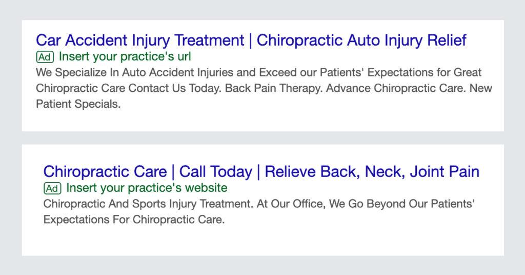 chiropractor google ads
