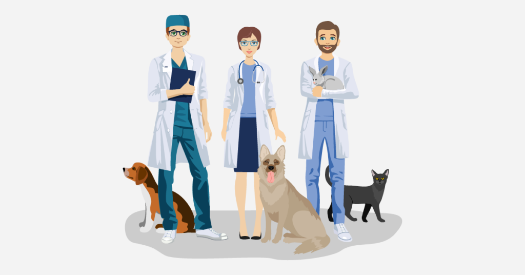 A veterinary team and pets.