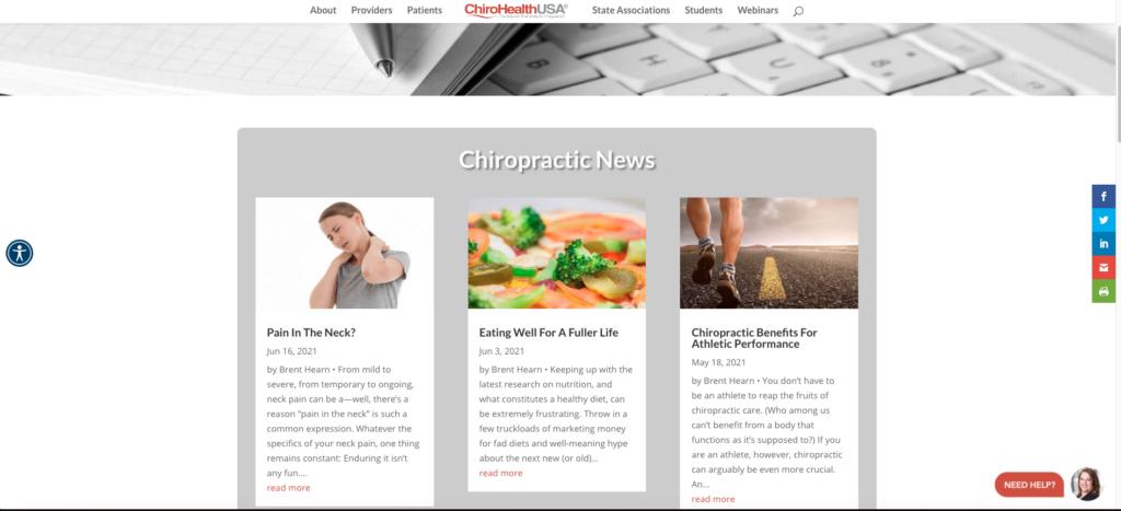 Screenshot of ChiroHealthUSA blog landing page.
