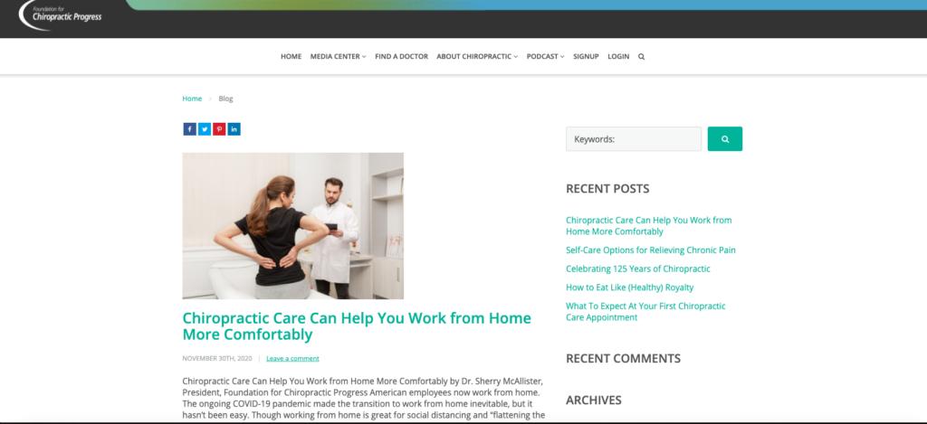 Screenshot of Foundation for Chiropractic Progress blog landing page.