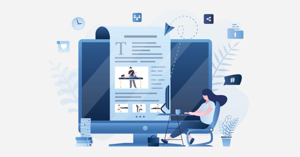 Illustration of woman blogging on desktop.