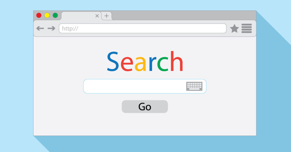 The search bar on a search engine.