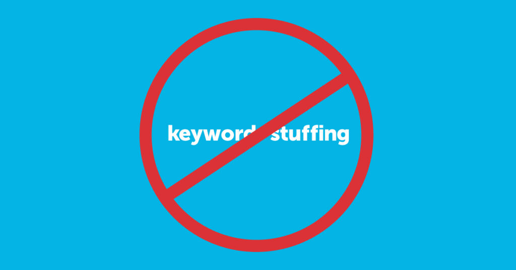 A strikethrough of the words keyword stuffing.
