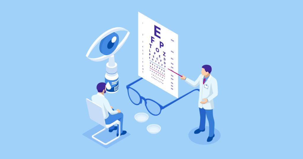 An optometrist giving an eye exam.