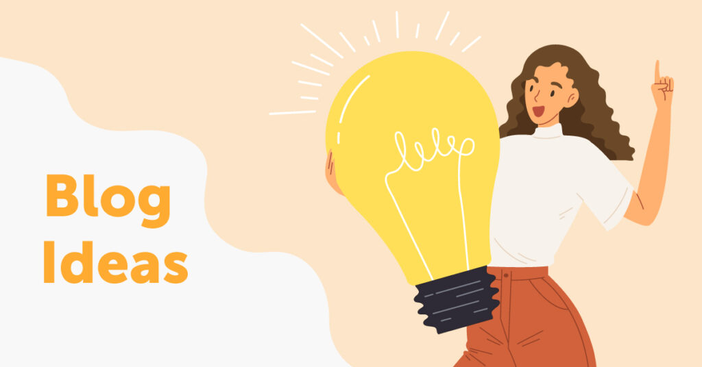 Woman holding a light bulb and thinking of blog ideas.
