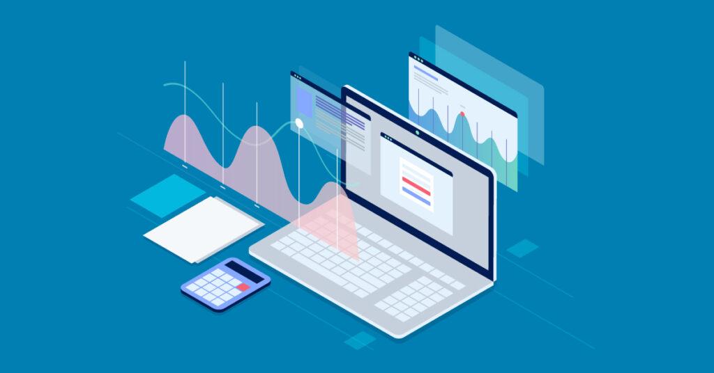 Running website analytics on a laptop.